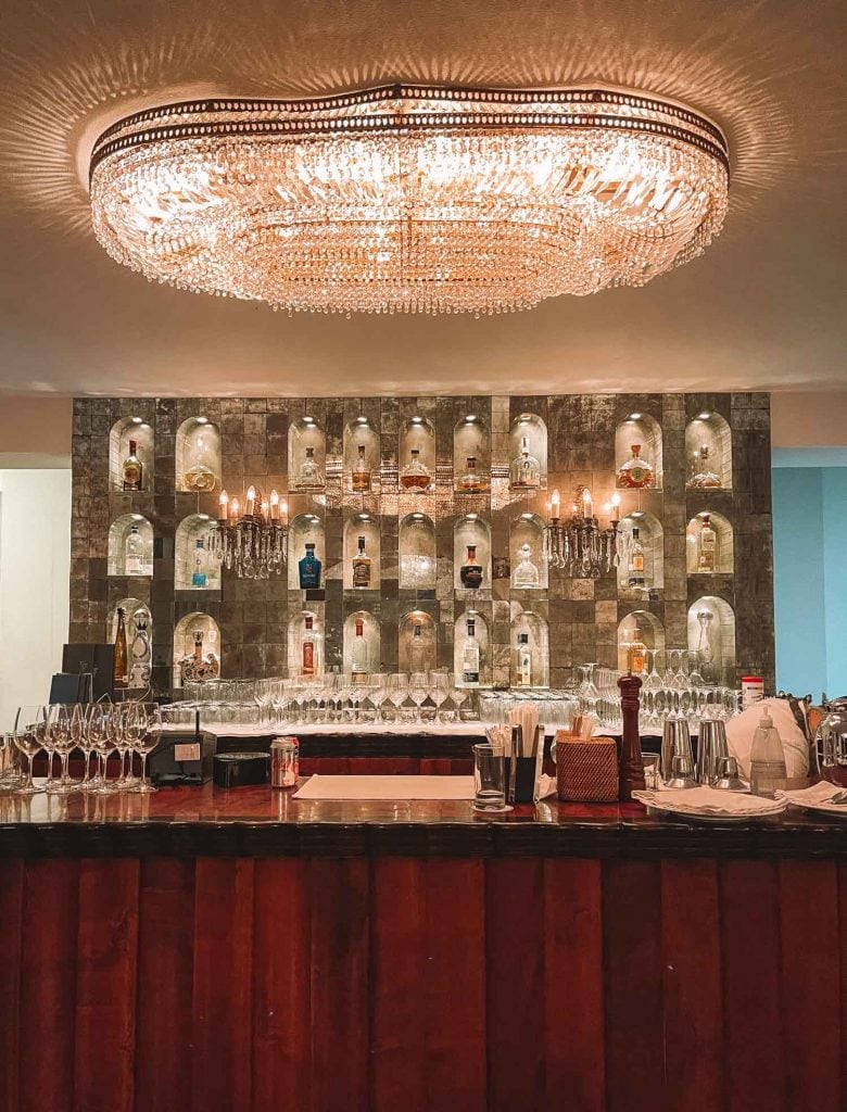 the iguana restaurant bar with big crystal chandelier in puerto vallarta