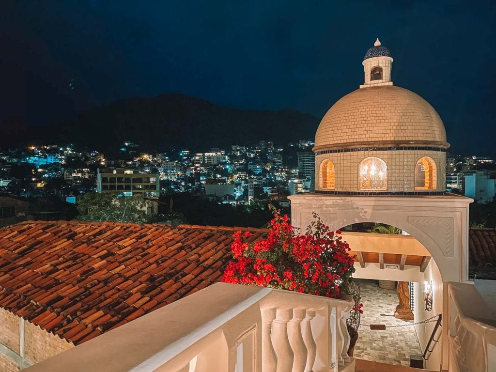 views of casa kimberly from the iguana restaurant and tequila bar in puerto vallarta, mexico