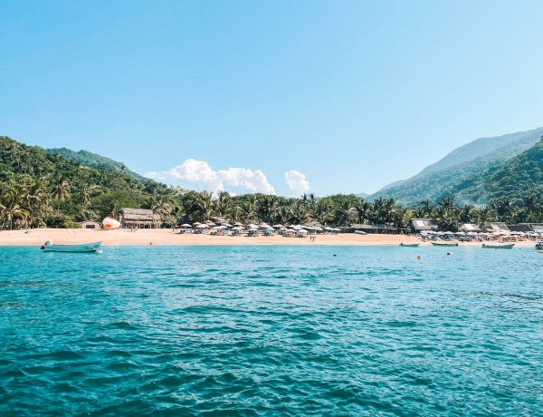 view of Yelapa, Mexico from a boat, one of many hidden beaches in Puerto Vallarta