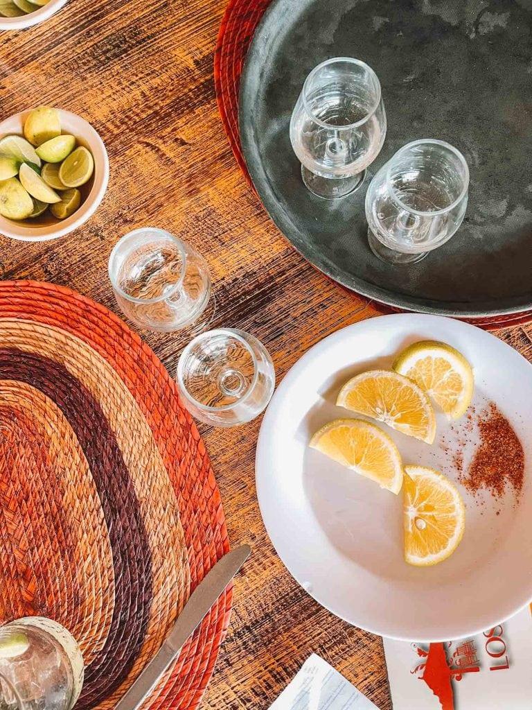 tequila shots and lime at Los Conos Restaurant in Las Animas Beach near Puerto Vallarta