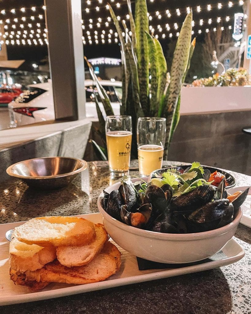 mussels and bread at ebullition brew works in bressi ranch