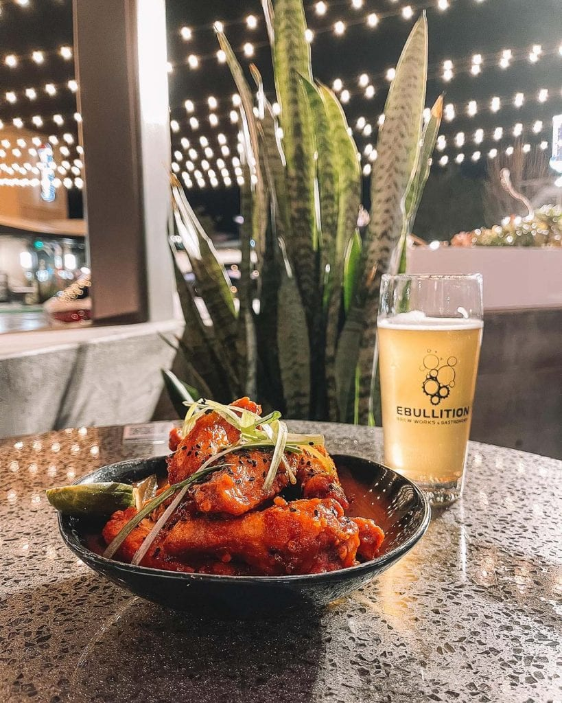 korean hot wings and beer at ebullition brew works in bressi ranch