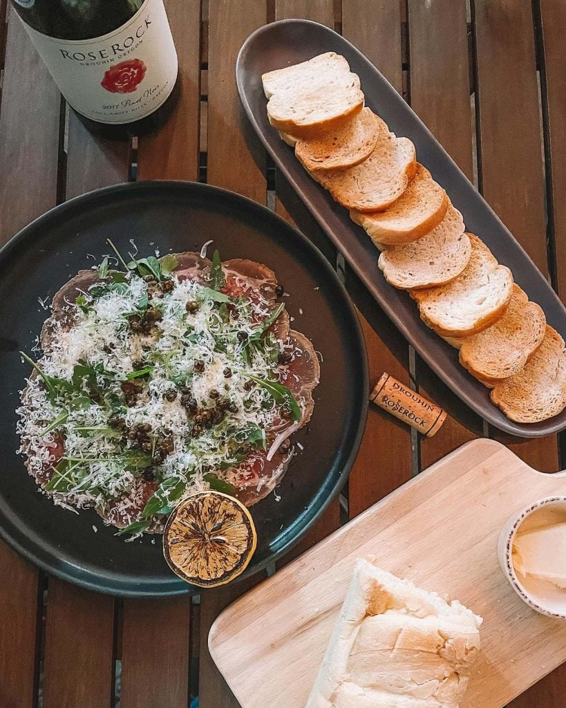 beef carpaccio, toad and red wine at giaola italian kitchen in bressi ranch