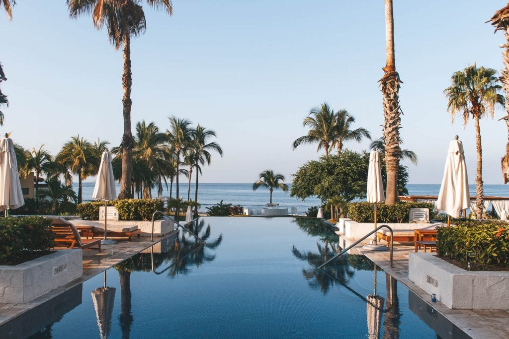 infinity pool looking out into ocean with many palm trees at the st regis punta mita
