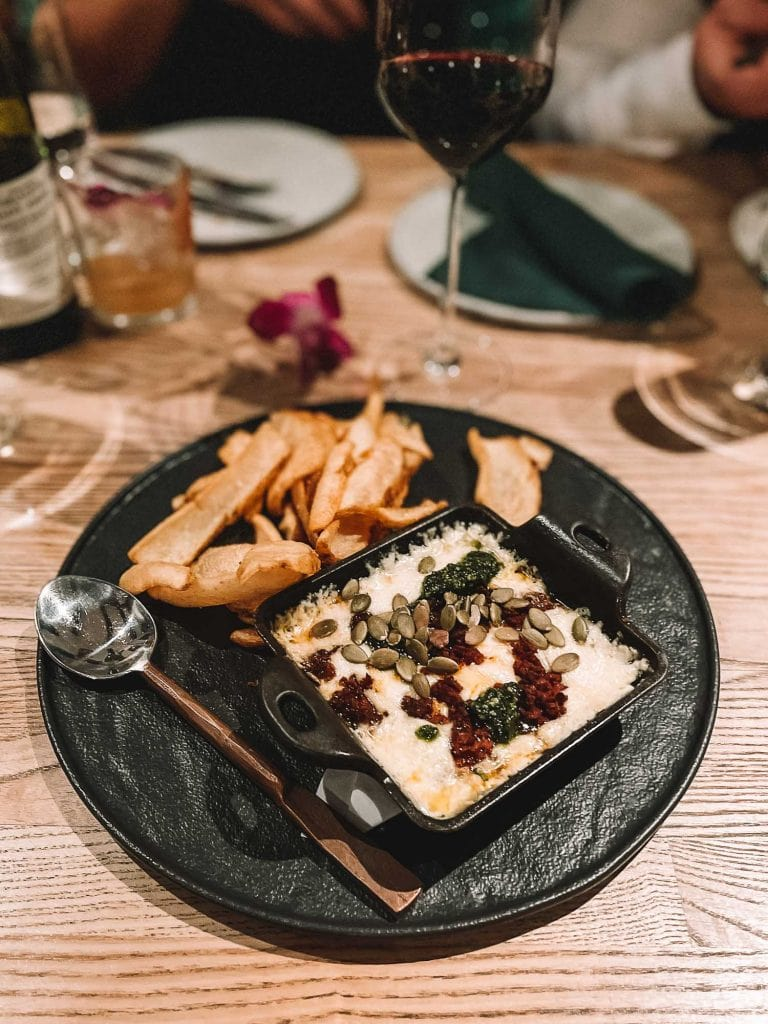 cheese fondue at alchemists' garden restaurant in paso robles california