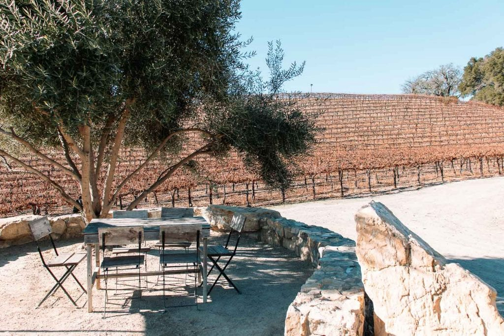 outdoor table overlooking the grape vineyards at hammersky vineyards and winery in paso robles california