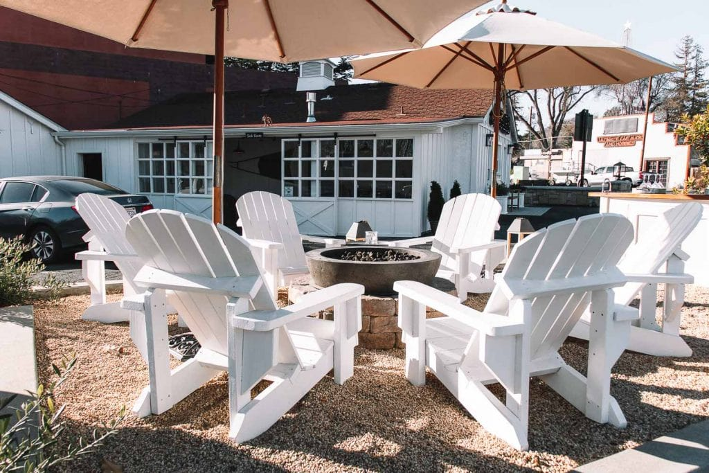 outdoor fire pit with chairs at the stables inn in paso robles california