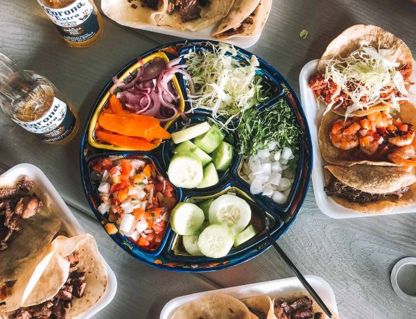 street tacos and beer at tacos guss in cabo san lucas mexico