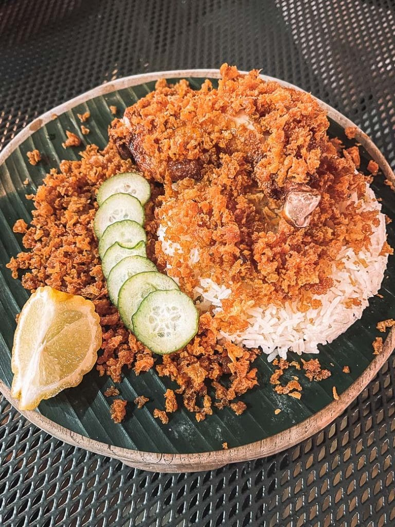 ayam penyet fried chicken and rice