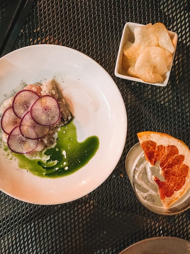 ceviche and taro chips