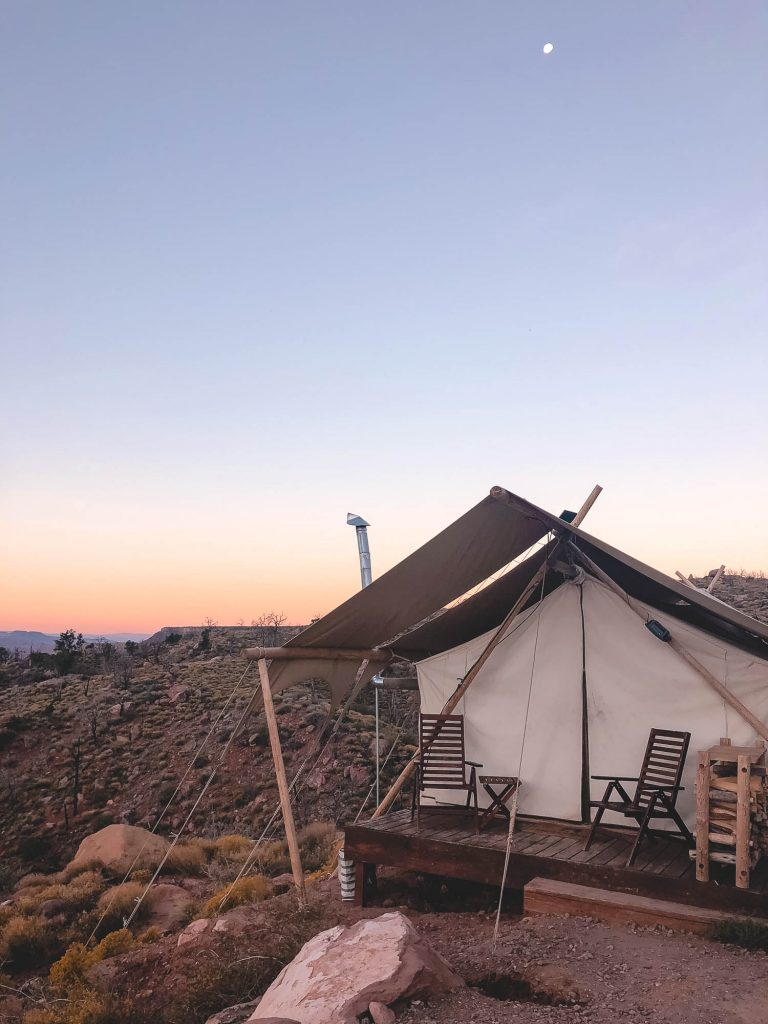 glamping tent in zion national park
