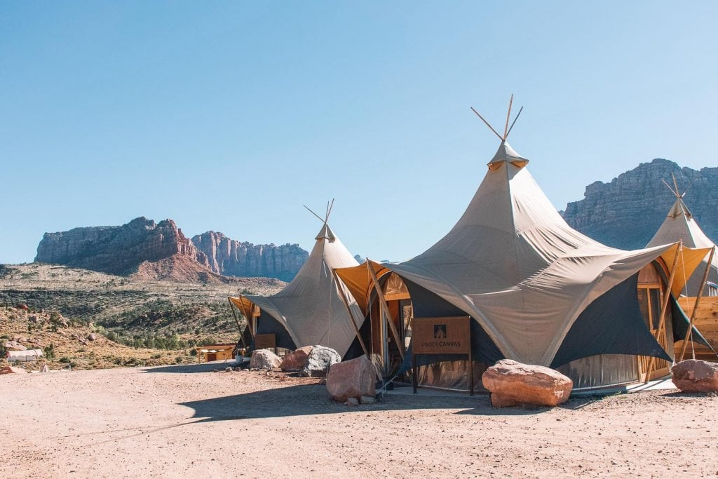 lobby tent at under canvas zion