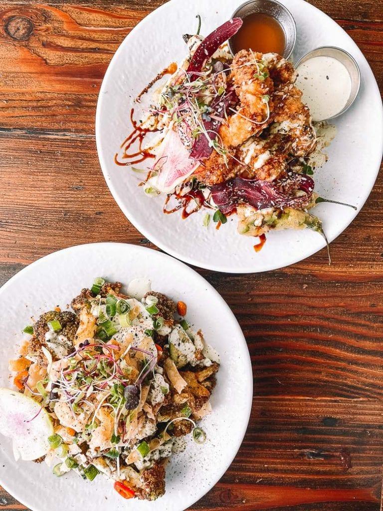 kung pow cauliflower and thai calamari